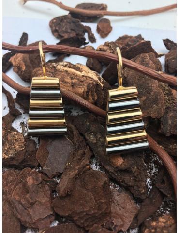 Pendientes Wood Oro Amarillo y Oro negro