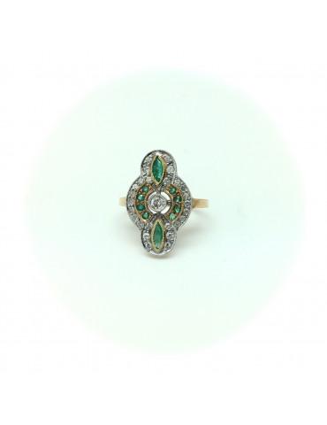 Sortija Art Decó Diamantes y Esmeraldas