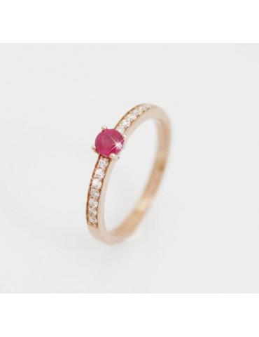 Sortija oro Rubí y diamantes